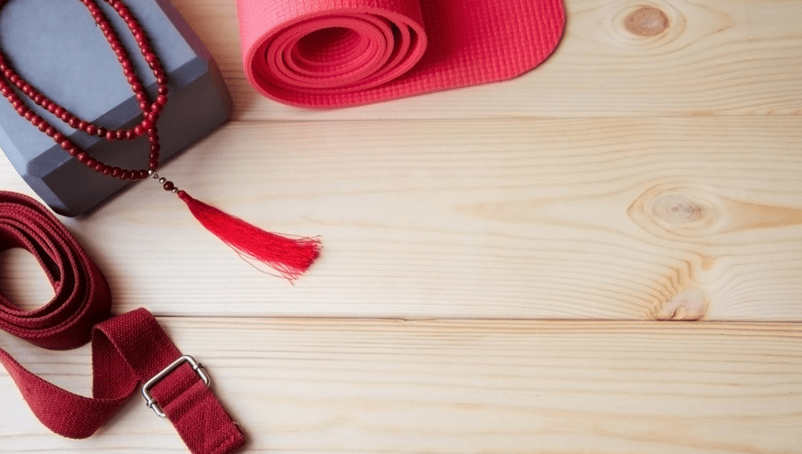 A selection of yoga accessories needed for yoga class
