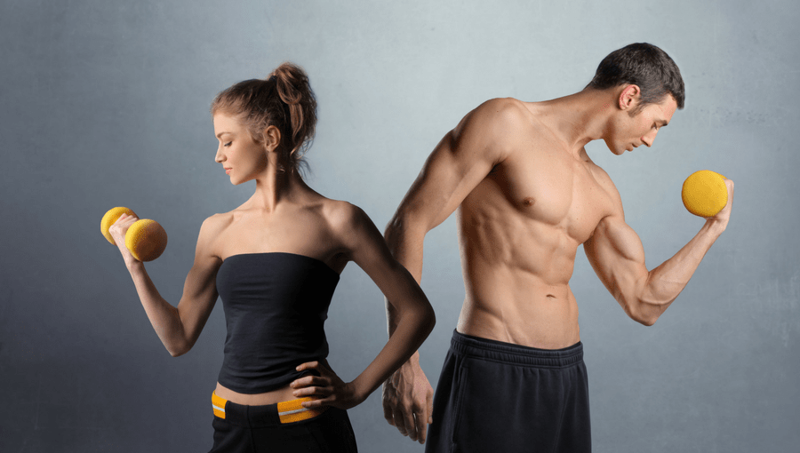 a fit couple weight-training